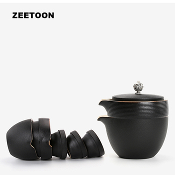 Japanese Black Zen Coarse Pottery Quick Cup Travel Tea Sets Portable Gaiwan 1*Teapot+3*Teacup with Tea Tray Creative Home Decor