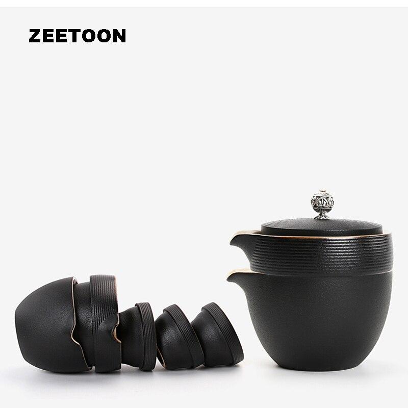 Japonais Noir Zen Grossier Poterie Rapide Tasse à Thé de Voyage Portable Gaiwan 1 * Théière + 3 * Tasse De Thé avec thé Plateau Creative Décor À La Maison