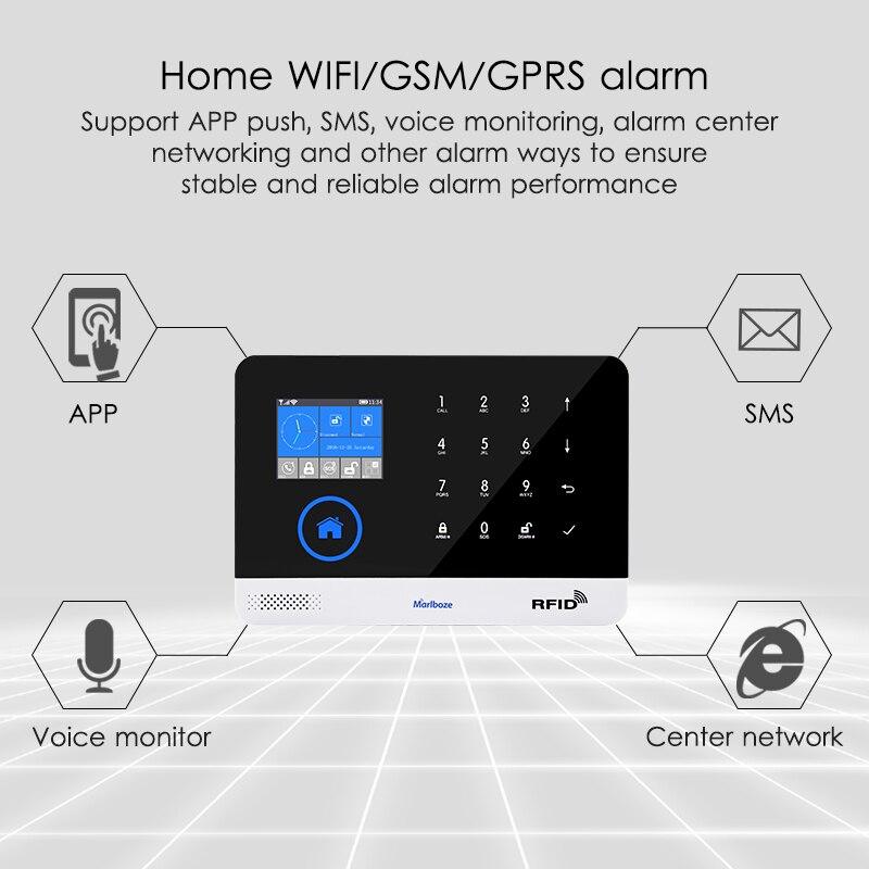 Marlboze EN RU ES PL DE Commutable Sans Fil de Sécurité À Domicile WIFI GSM GPRS système D'alarme APP Télécommande RFID carte bras Désarmer - 6