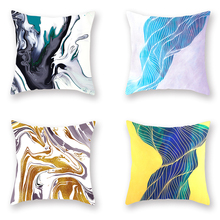 Ink Style Cushion Cover Linen Polyester Nordic Creative Pillowcases Modern Art Decorative Covers for Sofa Living Room Decor 4pcs