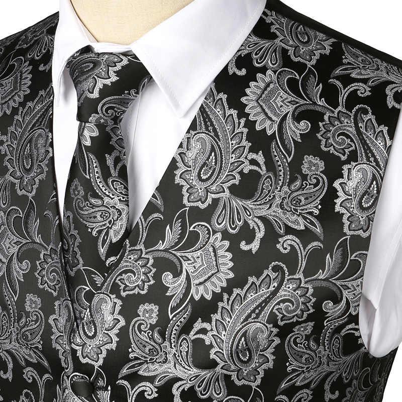 أسود 3 قطعة الرجال حفل زفاف بيزلي صدرية الصدرية جيب مربع التعادل دعوى مجموعة ل الزفاف العريس سهرة Chalecos الفقرة Hombre