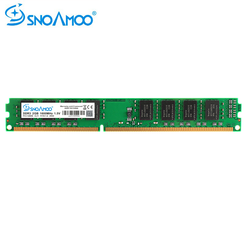 On Sale Snoamoo Desktop Pc Rams Ddr3 2gb 1600mhz Pc3 12800s Cl11 Memory 2 Gb 1333mhz 10600s Cl9