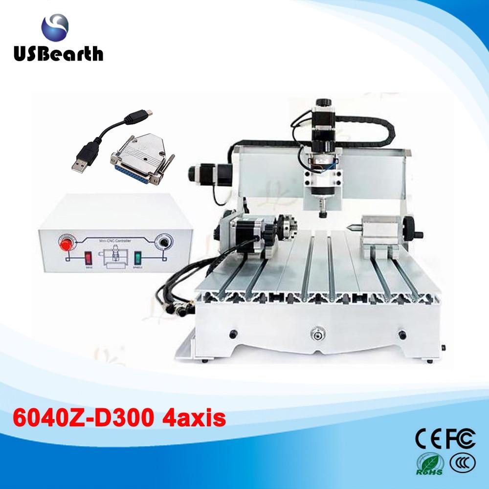CNC router 6040z-d300w with usb port adatper 4 axis cnc milling machine no tax to eu 6040 z d300 4axis 110v 220v cnc milling machine cnc router usb adpter