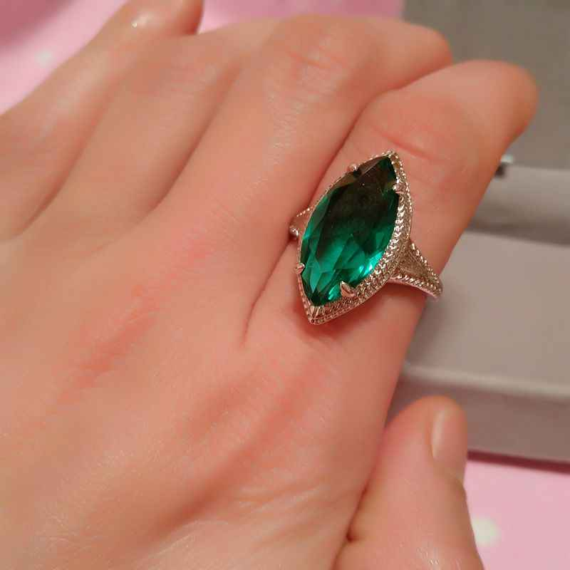 สีเขียวโบราณหิน Marquise ใหญ่แหวน 925 เงินม้า Zircon Eye May Birthstone แหวนหญิง CZ Emerald แหวน