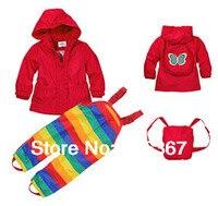 Free Shipping Retail Topolino Baby Girls Wind Suit Jacket Pants Windbreaker Water Resistance Suit Rainsuit MOQ