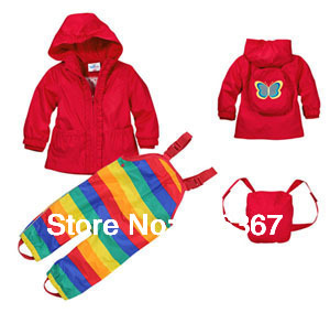Free Shipping- topom*ini baby girls / toddler wind suit jacket & pants, windproof/waterproof suit, windproof clothing set