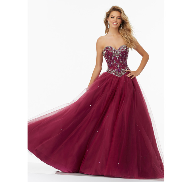 90a84a3b096 Gorgeous Burgundy Quinceanera Dresses Beading Sweetheart Tulle A Line Cheap Debutante  Dress For Party Long Vestido