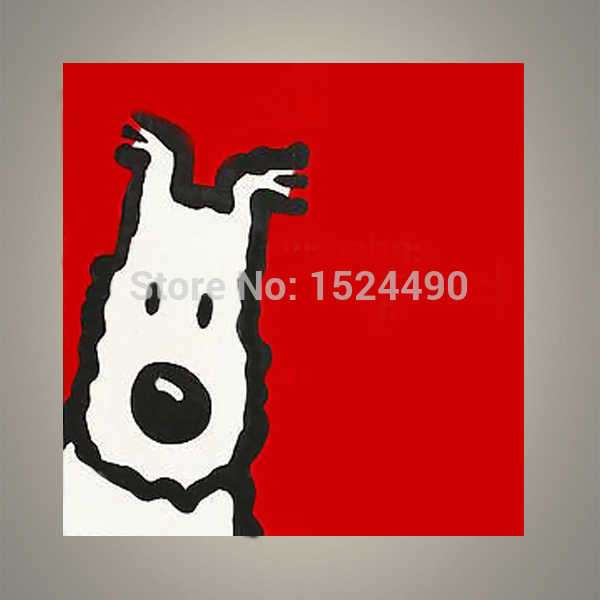 Free Shipping 100% Hand Painted Cartoon Oil Painting On Canvas Red Background Dog Abstract Animal Picture For Home Decoration