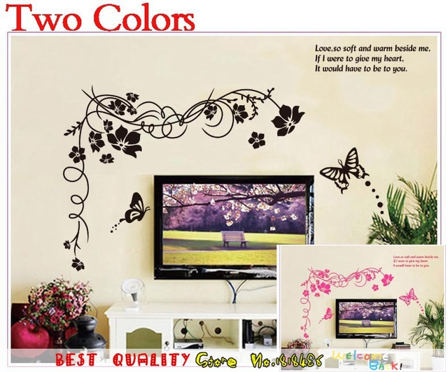 Large Trees Henna Wall Stickers Vine Butterfly Tv Sofa Background