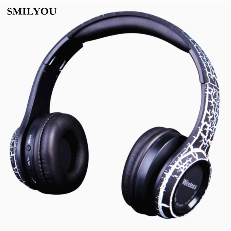 SMILYOU Unique /Crack/ Wireless MS992 Bluetooth Headphone Headband Earphone Stereo Headset Sport Bluetooth Earpiece Headphones 2016 new fashion brand sport headphones bluetooth wireless foldable headband headset cool led light headphone free shipping