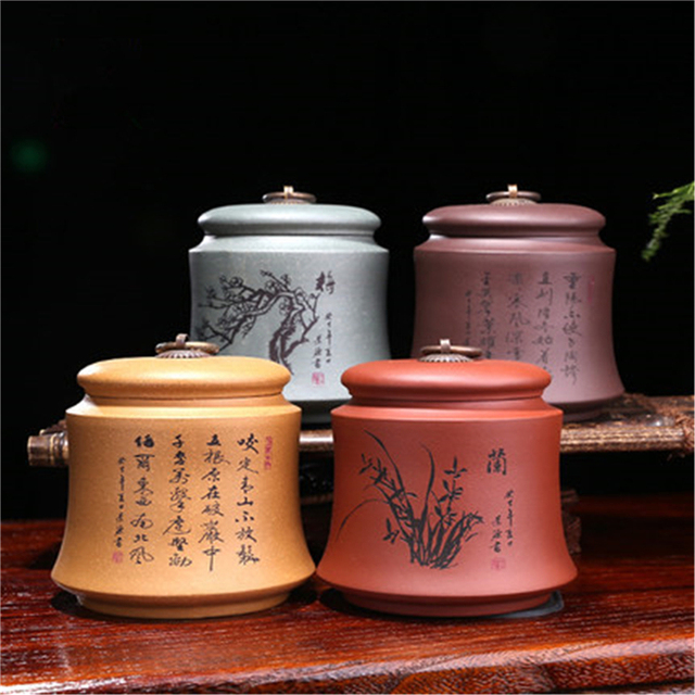 Raw ore Plum Chrysanthemum purple clay jar kitchen storage jars tea