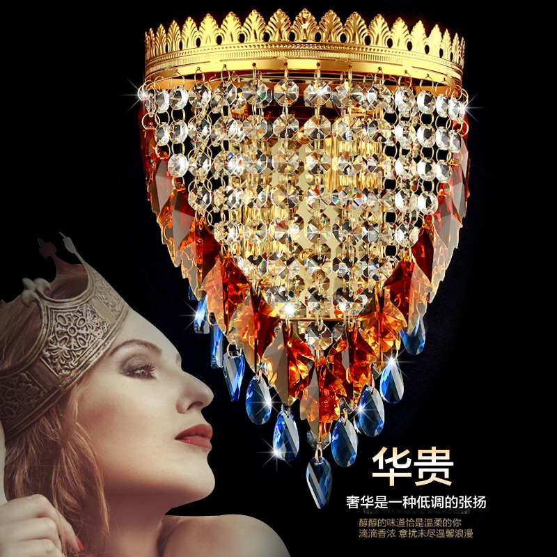 Hallway Modern Crystal Wall lamp Bedside Lamps Living Room indoor Gold Crystal Wall sconce Bedroom Living Room wall lights free shipping europe gold alloy led crystal sconce lamp indoor wall lamps with 1 lights 2 lights for bedroom lighting 962 1 2