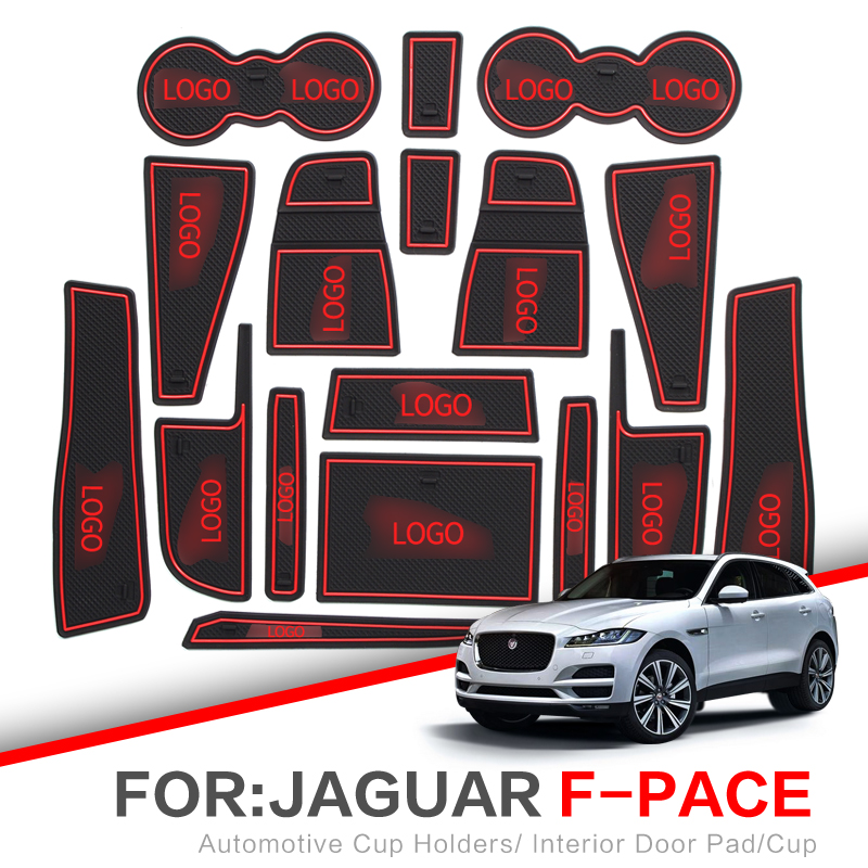 ZUNDUO Gate slot pad  For Jaguar F PACE E PACE XF X250 2007   2019 F PACE E PACE Interior Door Pad Car Cup Holders Non slip mats|  - title=