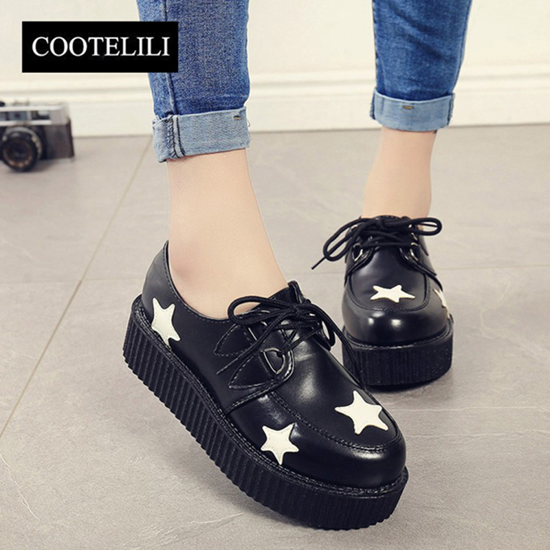 COOTELILI 35-39 Spring Solid Casual Women Shoes Flat Platform Lace-Up Creepers Ladies Shoes Round Toe Girls Shoes Plus Size40 41 цена