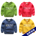 Child sweatshirt plus velvet male child pullover top 2017 children's spring and autumn clothing baby outerwear spring