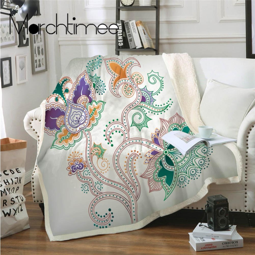 Mandragora Sherpa Throw Blanket Bohemian Floral Chic Plush Fleece Sofa Bed Blanket Colorful Bedspread Thin Quilt Mandala Bedding