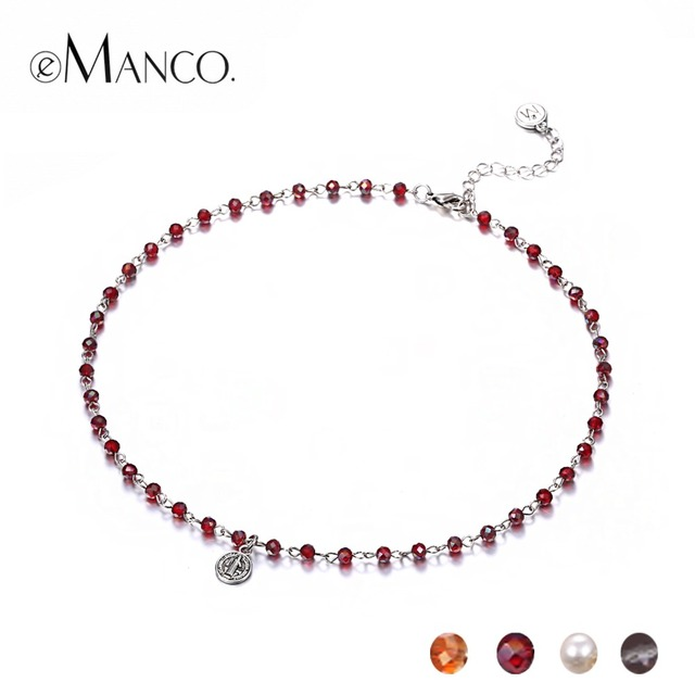 eManco 4 Crystal Beads Choker Necklace Simulated Pearl Beads Chain Necklace Muti