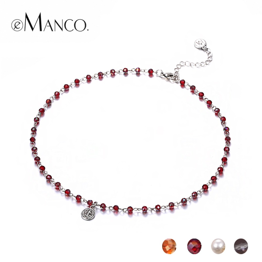 eManco 4 Crystal Beads Choker Necklace Simulated Pearl Beads Chain Neck