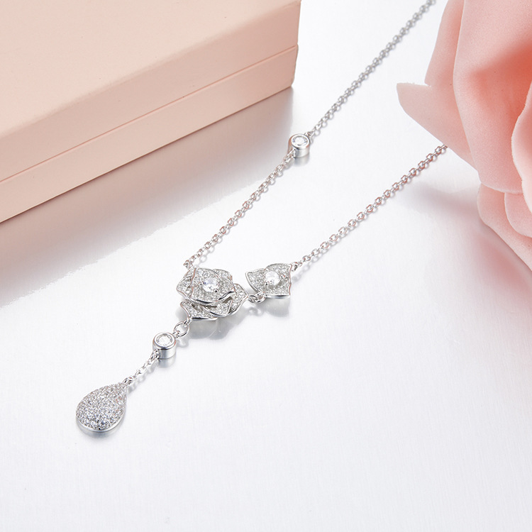 ZOZIRI brand cute water drop Pendant necklace for women charm rose flowers necklace high quality 925 sterling silver jewelry stylish rhinestoned water drop rose gold plating necklace