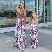 floral mother daughter dresses sleeveless mommy and me clothes family look matching outfits mom daughter summer dress clothing