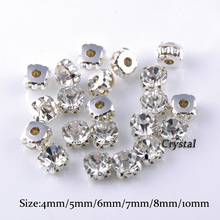 Shiny Round Shapes Silver & Gold Sew on Rhinestones With Claw Crystal / AB Glass Glitter For Wedding Dress