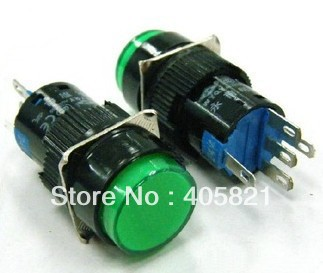Green 1NO 1NC 16mm Hole Momentary Push Button Switch With Pilot Light Lamp