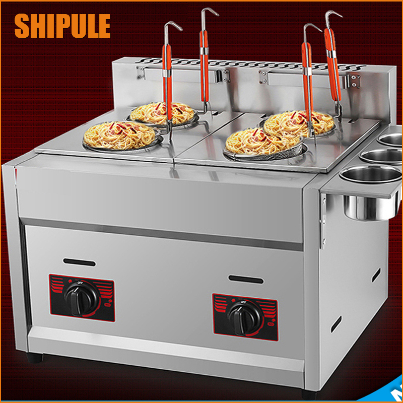 new design stainless steel gas deep fryer, double tank with 3 buckets gas fryer ,french fries machine for commerial use fast food leisure fast food equipment stainless steel gas fryer 3l spanish churro maker machine