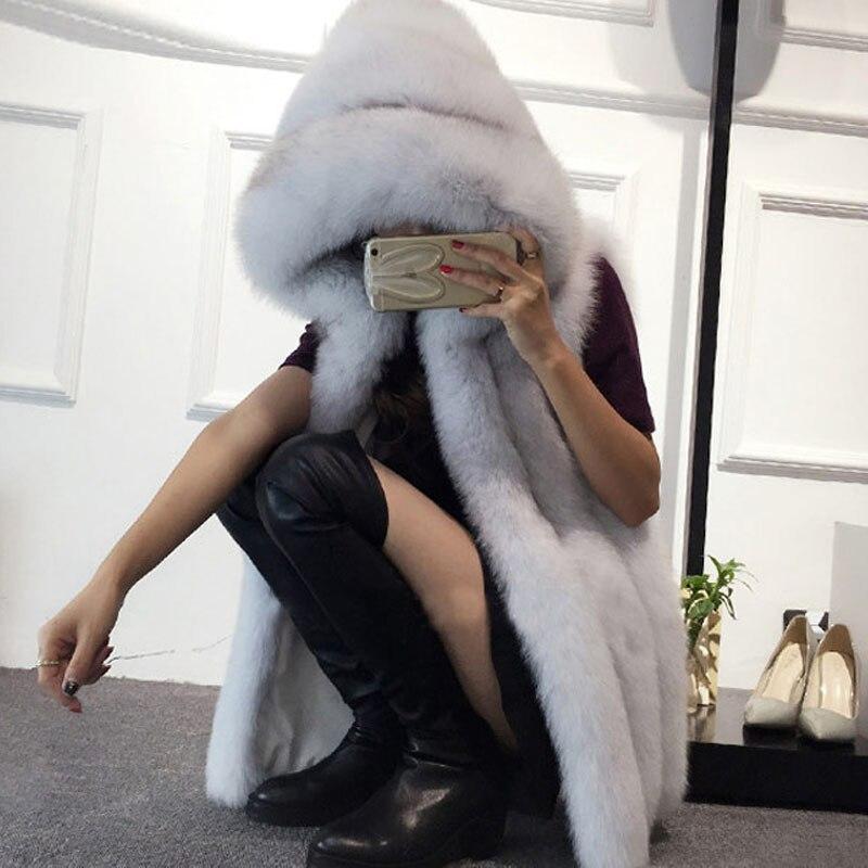 65ea6a441b279 2018 Plus Size 6XL Fur Hood Vest Women Faux Fox Fur Vest Striped Long Fur  Gilet Sleeveless Rabbit Fur Coat Winter Jacket V888-in Faux Fur from Women s  ...