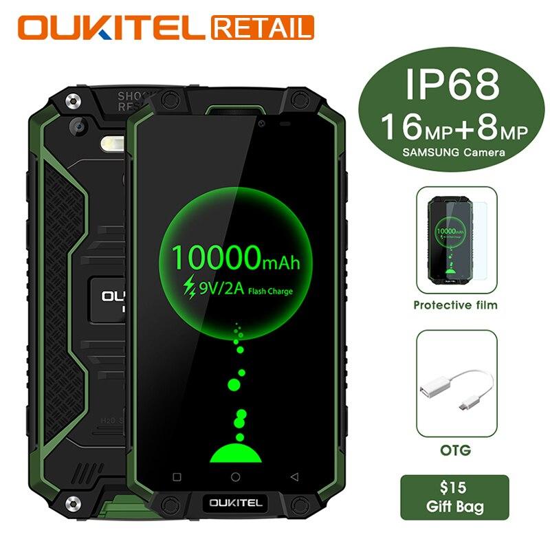 Oukitel K10000 Max IP68 Étanche 5.5 FHD MTK6753 Octa Noyau Mobile Téléphone Android 7.0 3GB32GB 10000 mAh 16MP Tactile ID Smartphone