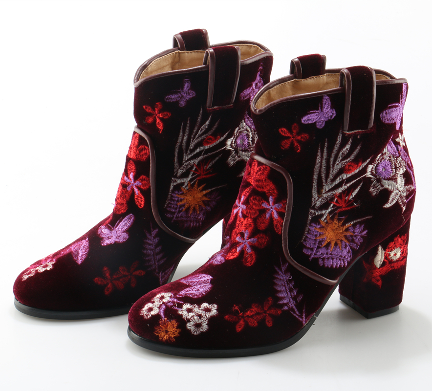 Retro Embroidery Women Ankle Boots Suede Leather Zipper Vintage Boots High Chunky Heel Floral Autumn Winter Women Shoes