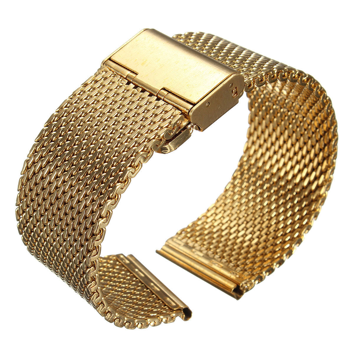 YCYS-New 20mm Watch Strap Shark Mesh Band Stainless Double Clasp Steel Bracelet GoldYCYS-New 20mm Watch Strap Shark Mesh Band Stainless Double Clasp Steel Bracelet Gold