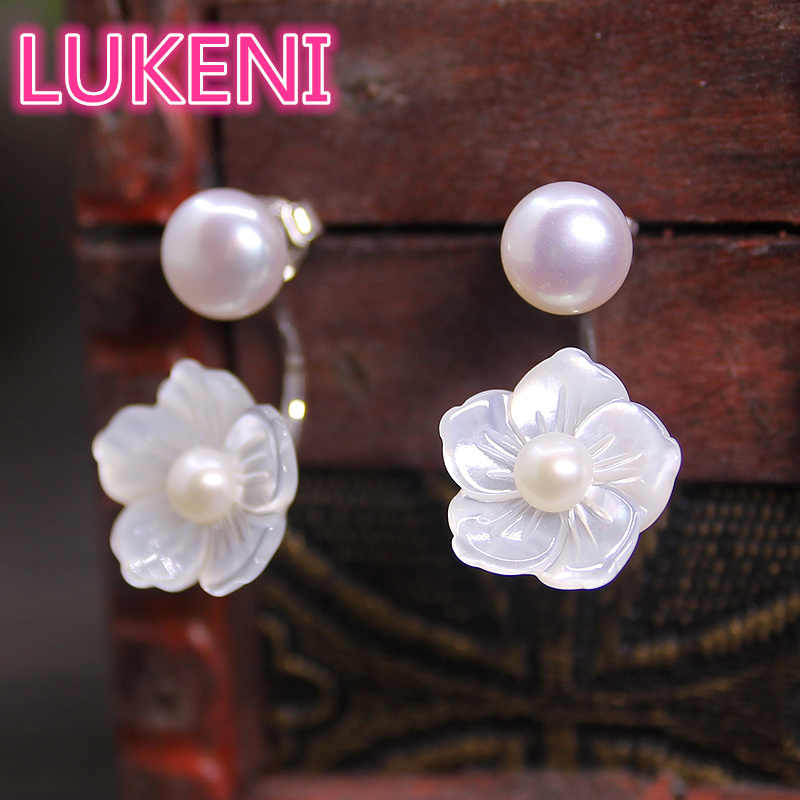 S925 Sterling Silver High gloss Natural Pearls Earrings Deep sea shell rose Stud Earrings  sweet Girl's earring Free shipping