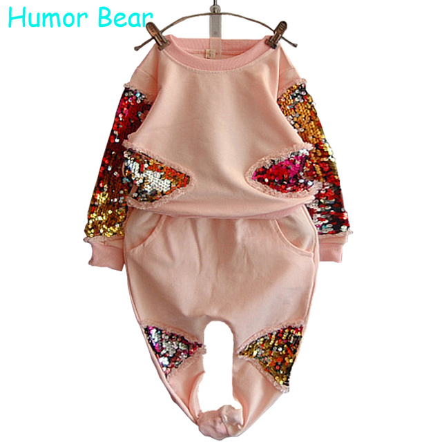 Humor Bear Girls Clothing Set Fashion Sequined Flower Long-Sleeved + Pant Suit Girls Set Baby Girls Clothes