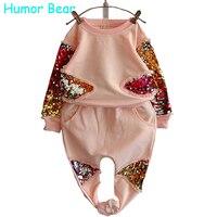 Humor Bear Girls Clothing Set Fashion Sequined Flower Long Sleeved Pant Suit Girls Set Baby Girls