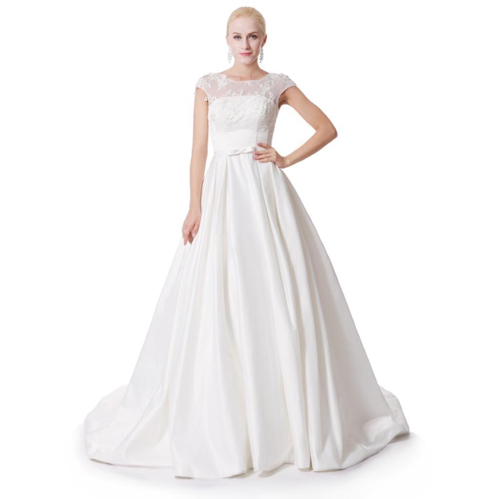 New Plus Size Wedding Dress Lace Up Boat Neck Sleeveless