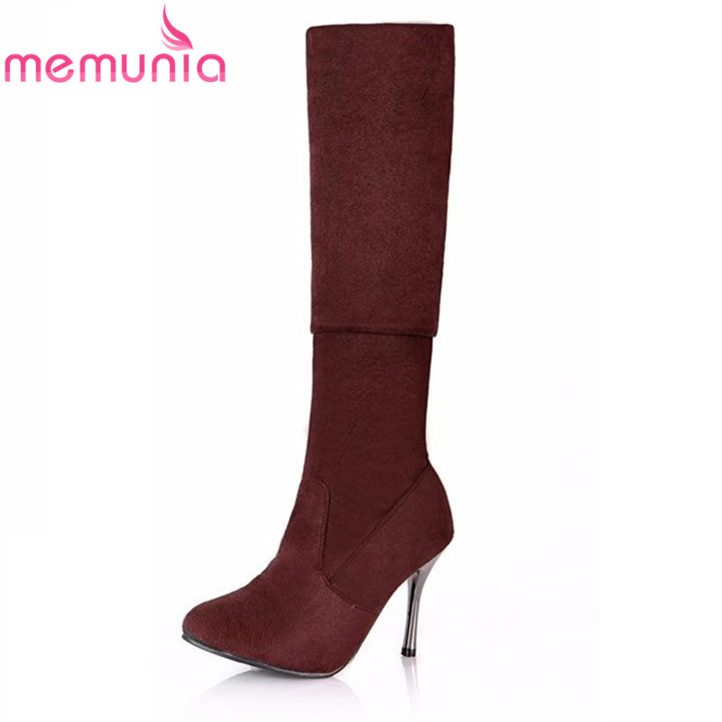 MEMUNIA 2017 hot sale new arrive women boots fashion flock thin heels over the knee simple solid color autumn winter boots fanyuan 2017 hot sale spring autumn new arrive women boots fashion faux suede pointed toe zipper solid color over the knee boots