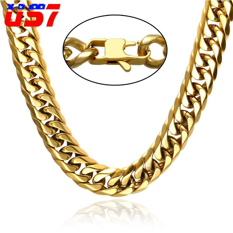 US7 Hip Hop Rock Double Layer Gold Color Cuban Curb Chains Necklaces 24inch Stainless Steel Link Chain For Men Jewelry Gift
