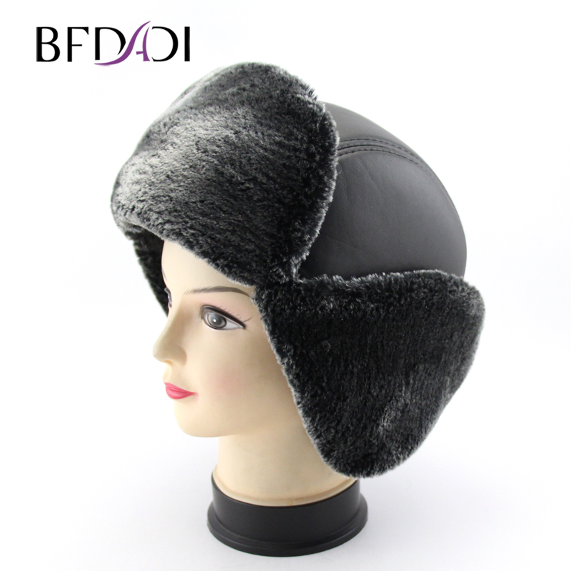 BFDADI Bomber-Hat Trooper-Trapper Ear-Flap Snow-Ski-Cap Aviator Russian Faux-Fur Winter