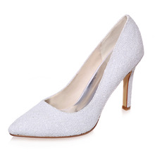 White 3D glitter pointed toe pumps party wedding evening shoes nubuck feel special occasion office lady heels rubber sole shoes