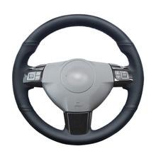 Cucito A mano Nero DELLUNITÀ di elaborazione Artificiale Volante In Pelle Auto Copertura Della Ruota per Opel Astra (H) 2004 2009 Zaflra (B) 2005 2014 Signum 2005