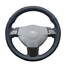 Opel Astra (H) 2004 2009 Zaflra (B) 2005 2014 Signum 2005 용 핸드 스티치 블랙 PU 인조 가죽 자동차 핸들 커버