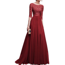 edbe156a4c1 Mid-sleeve O-neck Lace Chiffon Banquet Dress Woman Wedding Bridesmaid Floor- length Ball Gown Dress Lace Banquet Prom