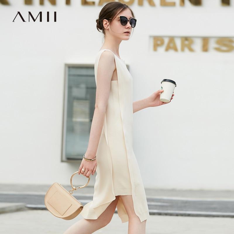 black 2018 Longueur Robes Amii Femme Au Cou O Femmes Réservoir Robe Genou Tricoté orange D'été Manches Beige Sans aA5Fq1