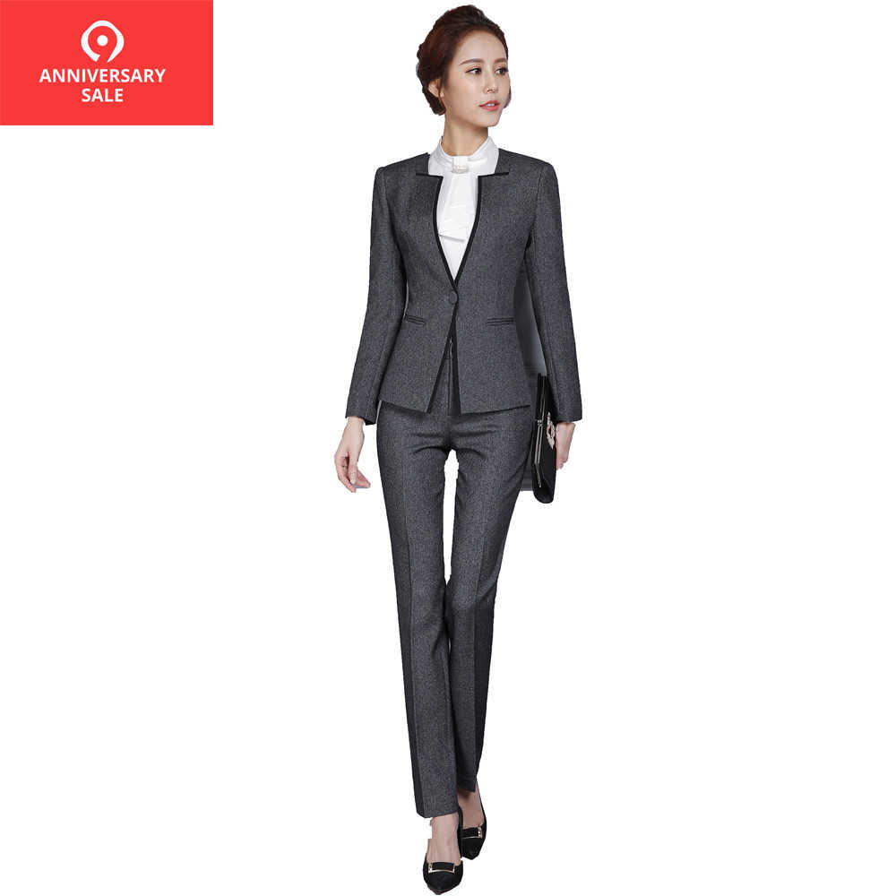 34cb08fd46683 New 2019 Autumn Winter Women set Pant suits blazer and Pants Office ladies  Business Women Pant