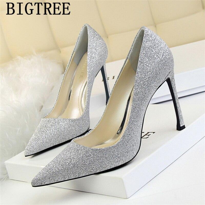 Glitter Heels Wedding Shoes Bride Bigtree Shoes Extreme High Heels Sexy Elegant Shoes Women Brand Pumps Fetish High Heels Talon
