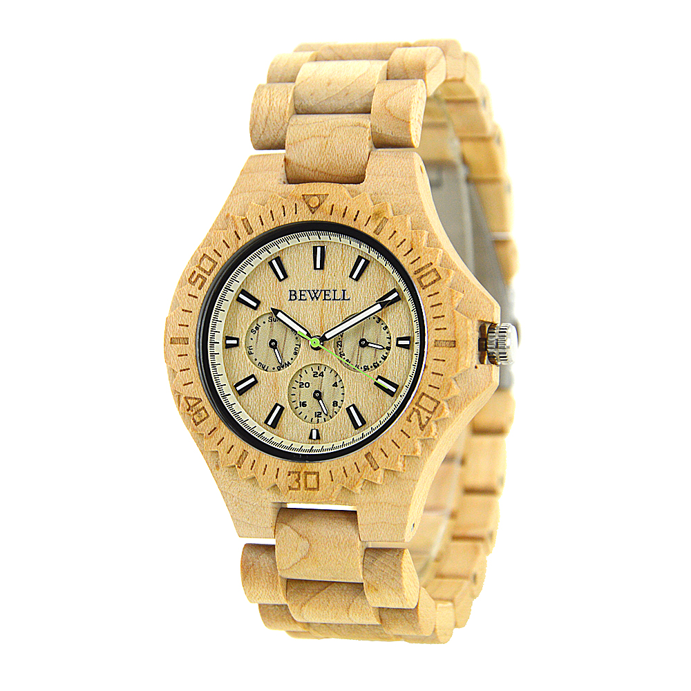 BEWELL Hot Sell Men Dress Watch Quartz Mens Wooden Watch Wood Wrist Watches Natural Calendar Display Bangle Gift Relogio 116B in Quartz Watches from Watches