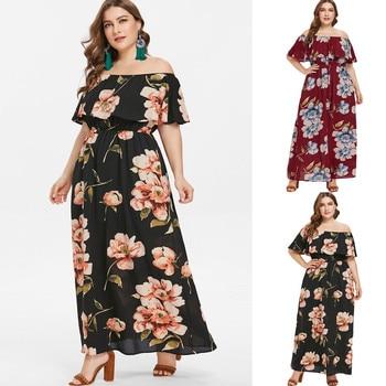 aa3b689f57020 Caitlin – Long Floral Off Shoulder Maternity Dress – Plus Size ♥