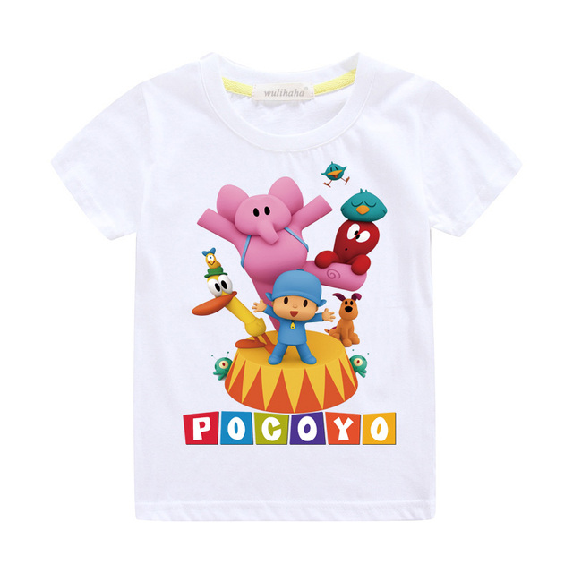 Girls Cute Cartoon Pocoyo Print T-shirts Costume Boys Short Sleeve Tshirts Clothing Children Summer Casual Tee Top Clothes ZA064