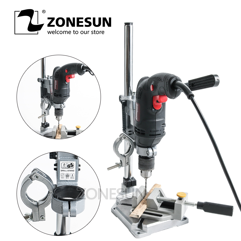 ZONESUN Double Holders Electric Drill bracket Multifunctional Drill Support Strent for wood Household Table Drilling applicatori di etichette manuali