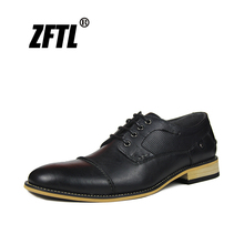 ZFTL New Men Dress shoes Genuine Leather Man Business Formal Lace-up Large size British Handmade Spring/autumn  039